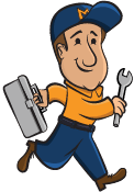 Mountain Heating & Cooling cartoon mascot named Ole running while holding a wrench and a toolbox